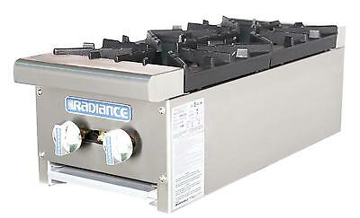 "Radiance TAHP-12-2 12"" Counter Top 2 Burner Gas Commercial Hotplate 64,000 btu"
