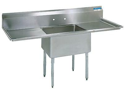 """BK Resources Stainless 1 Compartment Sink 18""""x18""""x12""""D w/ 2 Drainboards"""