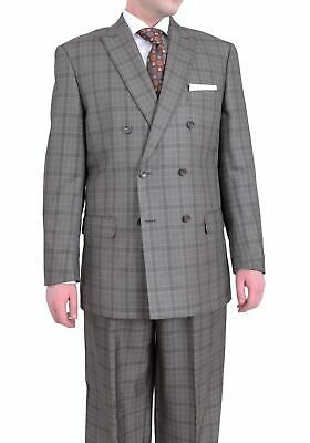 Caravelli Classic Fit Brown Plaid Double Breasted Three Piece Pleated Suit