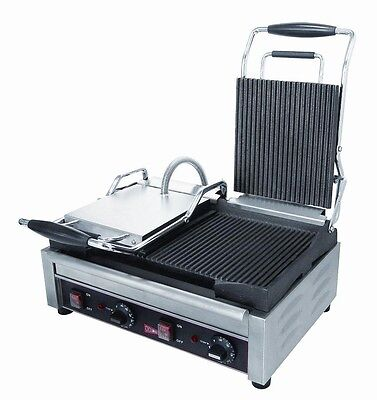 GMCW SG2LG Double Grooved Sandwich Press Panini Grill, 240 v