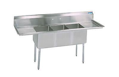 "BK Resources Three Compartment Sink 18""x18"" W/ Two 18in Drainboards NSF"