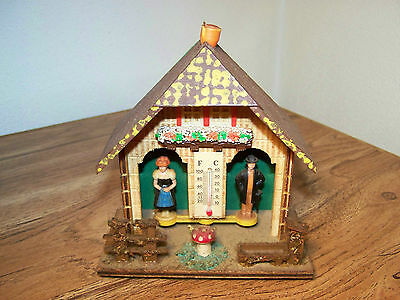 Vintage Germany Black Forest Wood Cottage Thermometer Weather Forecaster
