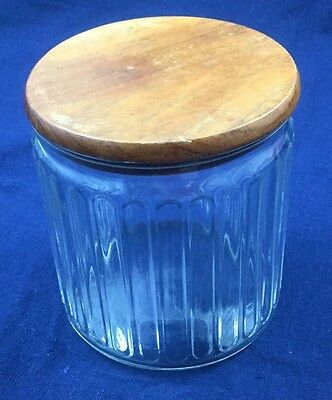 "Tobacco Cigar Humidor Clear Glass Wooden Lid Vtg Pillared 5"" Tall 4.25"" Diameter"