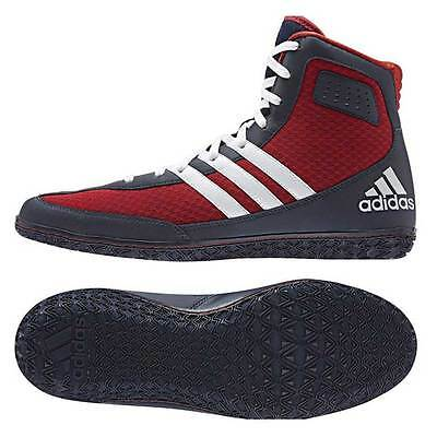 Adidas Mat Wizard 3 Red, White & Navy wrestling shoes