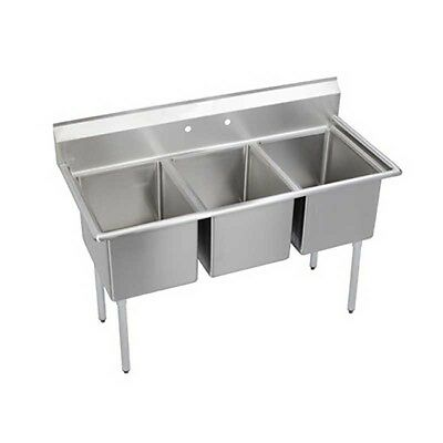 """Elkay Foodservice 3 Compartment Sink 24"""" x 24"""" x 12"""" Bowls 16/300 Stainless"""