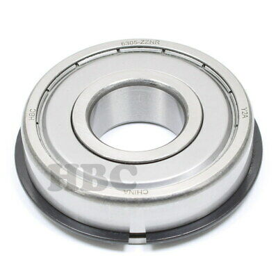 Ball Bearing Hbc 6305-Zznr With 2 Metal Shields & Snap Ring
