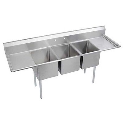"Elkay Foodservice 3 Comp Sink 24""x24""x12"" Bowls Two 24"" Drainboards 18/300 S/s"