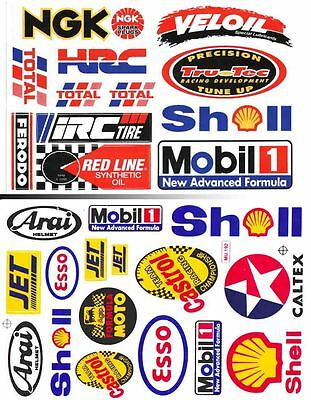 2 sheet veloil shell esso mobil 1 hrc ngk oil lube decal sticker print die-cut