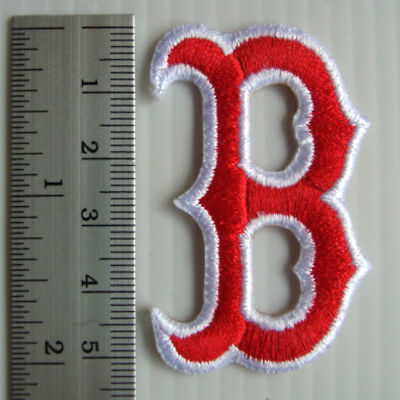 "2.1/8""X1p. B boston red sox embroidered iron on sew patch badge apparel"