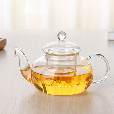 New Heat Resistant Glass Teapot With Infuser Coffee Tea Kettle Leaf Herbal