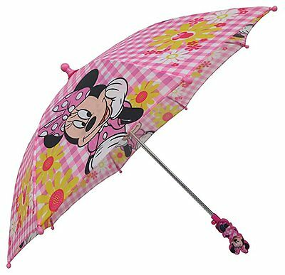 Disney Minnie Mouse Boutique Pink and White Gingham Flower Umbrella