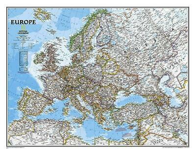 Europe NGS 770 x 510mm Laminated Wall Map