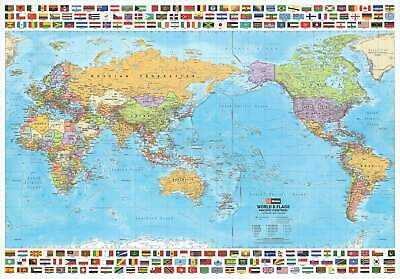 World & Flags Hema (Pacific Centred) 1010 x 720mm Laminated