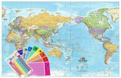 World Hema Political (Pacific) 1550 x 990mm Supermap Laminated Wall Map with ...
