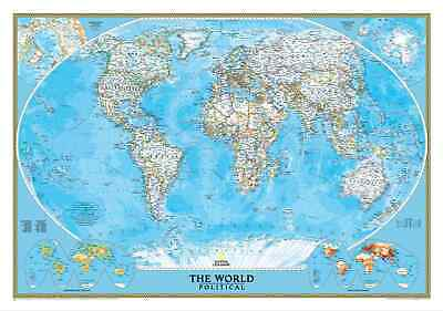 World Political NGS 1760 x 1220mm (Africa Centred) Large Laminated Wall Map