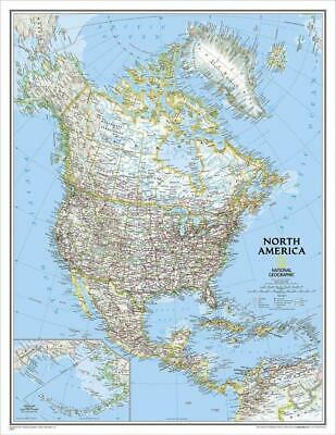 North America NGS 610 x 770mm Laminated Wall Map