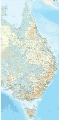 Eastern Australia Regional Map 700 x 1400mm Laminated Wall Map BMA