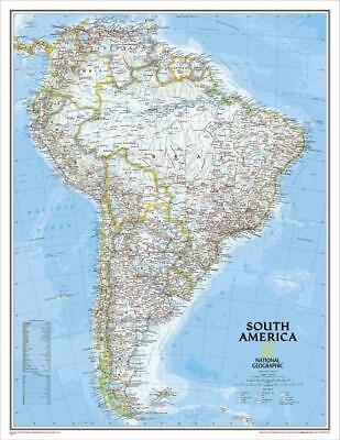 South America NGS 600 x 770mm Laminated Wall Map