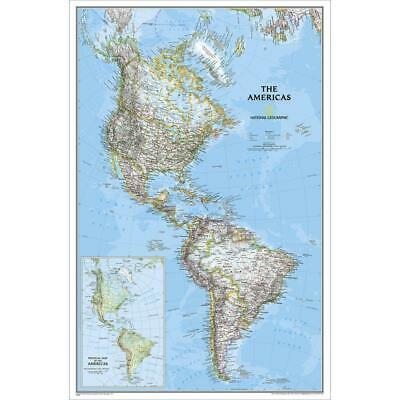 The Americas NGS 590 x 910mm Laminated Wall Map