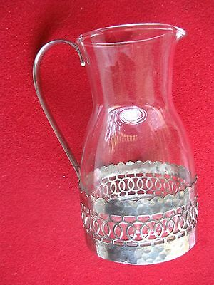 Decorative Silver And Glass Table Server Jug