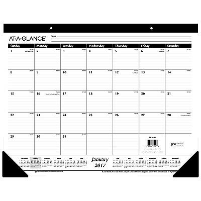 AT-A-GLANCE Desk Pad Calendar 2017 Monthly Ruled 21-3/4 x ... New, Free Shipping