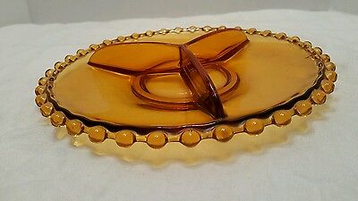 "VTG Amber Glass Divided Appetizer 9"" Plate Beaded Edge Serving Dish Nuts Candy"