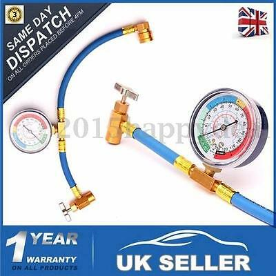 R134A Car Air Conditioning Refrigerant Recharge Measuring Kit Hose Gauge 340mm