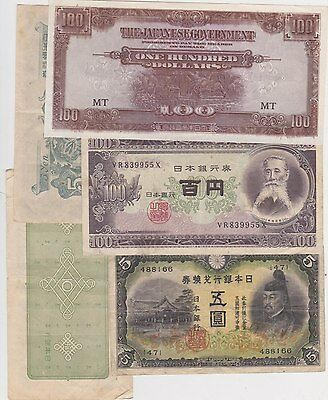 8 Different Banknotes From Japan In Fine To Or Better Condition