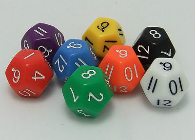 Pack of 10 x 12 Sided (d12) Opaque Dice for Maths Games