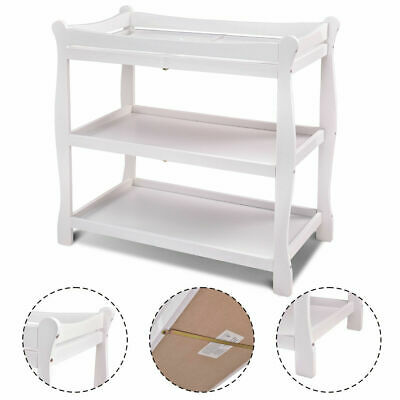 White Sleigh Style Baby Changing Table Infant Newborn Nursery Diaper Station