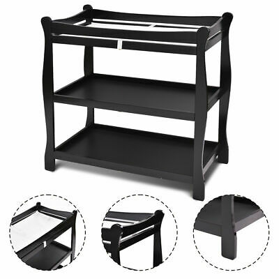 Black Sleigh Style Baby Infant Newborn Changing Table Nursery Diaper Station