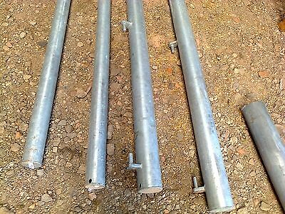 "Galvanised Farm Gate Posts - hanging 4.1/2"" x 2Mtr - captive hinge pins"