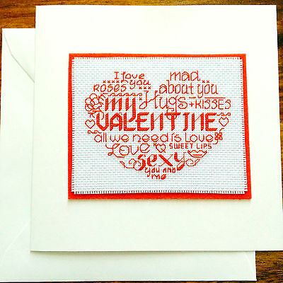 "Completed Cross Stitch Card Large 8 x 8"" Heart Word Cloud Valentine Handmade"