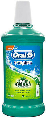 Oral B Complete Mouthwash No Alcohol Fresh Mint (500ml)