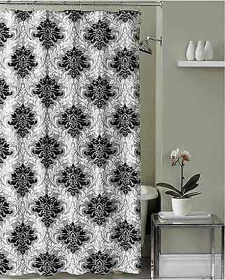 Black Grey White Embossed Fabric Shower Curtain: Floral Damask Design