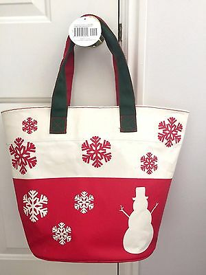 Barnes & Noble SNOWMAN MITTENS TOTE Christmas Canvas Book Bag NWT NEW
