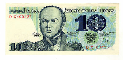 Poland 10 Zlotych 1982 Pick 148 UNC Uncirculated Banknote