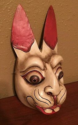 Antique Carved Wood Mexican Ceremony Rabbit Mask RARE!!
