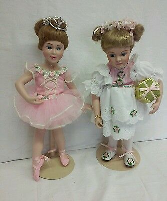 TWO Danbury Mint Porcelain Doll Childhood Moments Going to Party & Ballerina