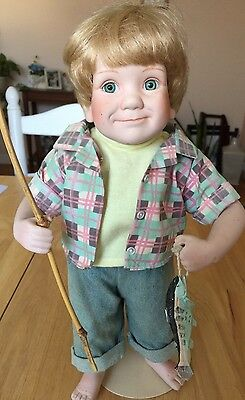 Danbury Mint Porcelain ANDY doll by  Elke Hutchens Boy Fishing, Preowned