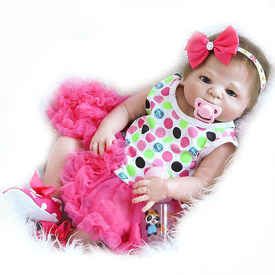 23'' Lifelike Reborn Baby Dolls Newborn Baby Girl Dolls Full Body Vinyl Silicone