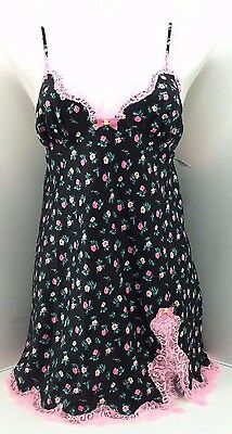 Betsey Johnson Floral Black Pink Lace Satin  Babydoll Gown Size Medium