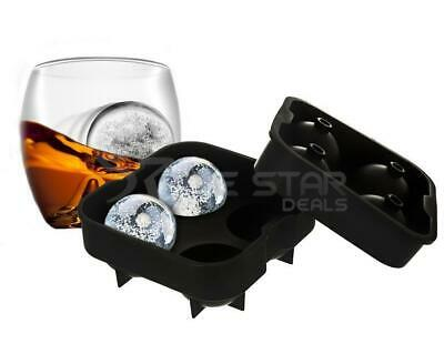 Whiskey Drink Ice Ball Silicone 4 Mould Black Round Sphere Tray Bpa Free