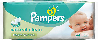 Pampers Natural Clean Fragrance Free Baby Wipes (64)