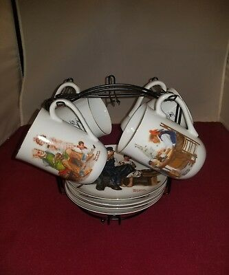 NORMAN ROCKWELL - Museum Collection of Four Matching Coffee Cups and Saucers