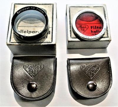 Rolleiflex Filters Boxed With Leather Cases