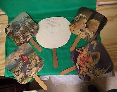 Five Vintage Church/funeral Home Hand Fans--Cardboard--Wooden Handles