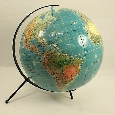 """1950's 14"""" Inflatable Globe with Iron Stand Retro Vintage Mid Century Modern"""