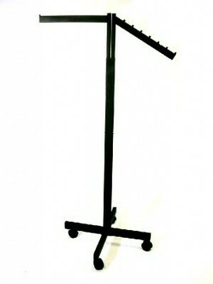 2 Way Rolling Clothing Garment Rack With Straight & Waterfall Arms, Black