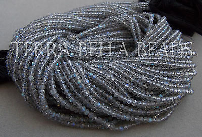 "12.5"" strand AAA SPECTROLITE LABRADORITE faceted rondelle beads 2.5mm - 3mm blue"